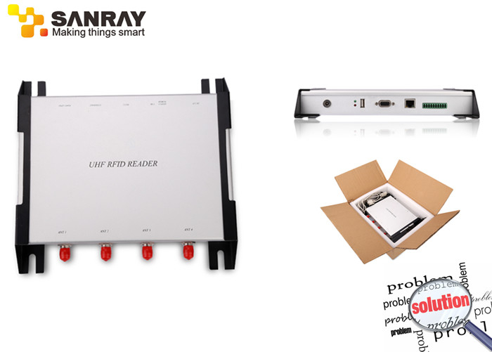 Long Distance Four Port rfid reader uhf Impinj R2000 Chip For Warehousing